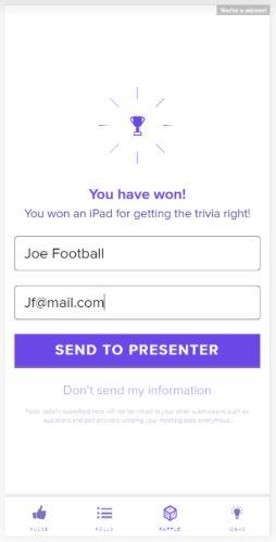 MeetingPulse Rock Star Trivia Winner Display Screen - iPhone or Android