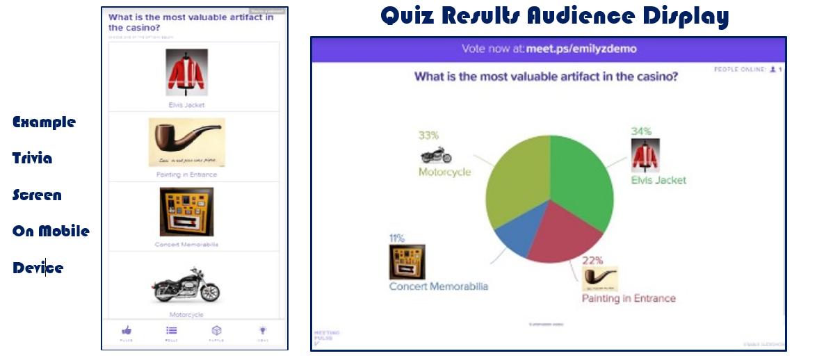 Trivia / Quiz Mobile Screen & Corresponding Real-Time Big Screen Display