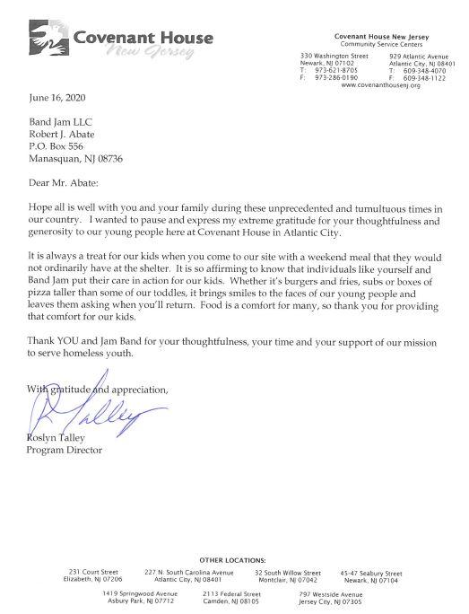 Covenant House Letter